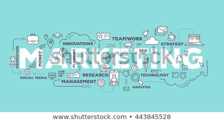 Marketing stratégiák címke felhő vektor üzlet Stock fotó © burakowski