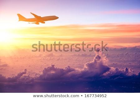 плоскости · облаке · Flying · белый · небе · Восход - Сток-фото © ewastudio