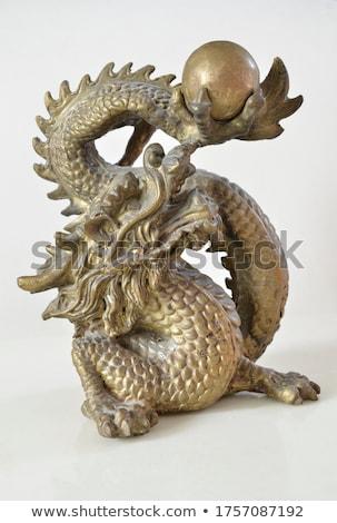 Китайский дракон статуя религиозных изолированный белый фон Сток-фото © smithore