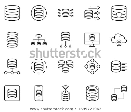 Stock photo: Set of black icons with silver outline
