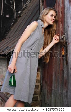 female hand is knocking on laboratory door stock photo © stevanovicigor
