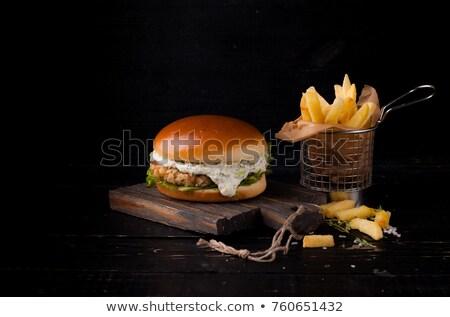 Lezzetli balık Burger iştah açıcı sebze hizmet Stok fotoğraf © jeliva