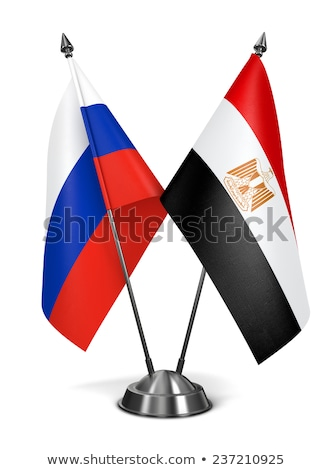 Stock photo: Russia and Egypt  - Miniature Flags.