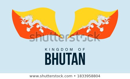 Kaart vlag knop koninkrijk Bhutan vector Stockfoto © Istanbul2009