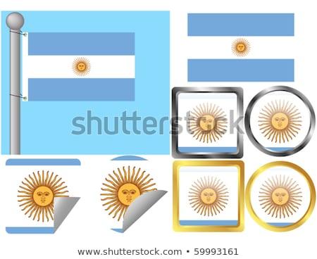 квадратный металл кнопки флаг Аргентина изолированный Сток-фото © MikhailMishchenko