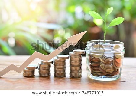 Mútuo fundo dinheiro mão moeda moedas Foto stock © Dxinerz