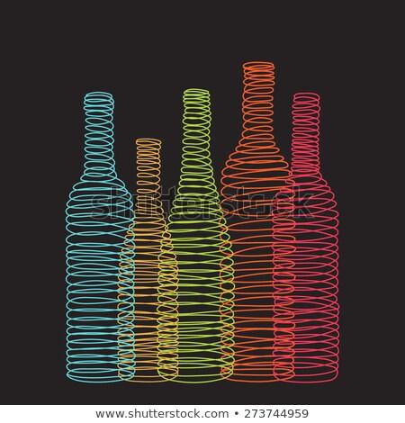 изолированный аннотация спиральных вино бутылок черный Сток-фото © ulyankin
