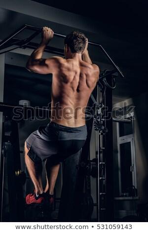 Выделенный · рубашки · мужчины · спортсмена · гантели · спортзал - Сток-фото © wavebreak_media