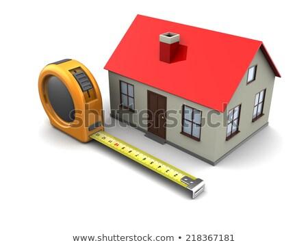 3D fita métrica casa isolado branco trabalhar Foto stock © texelart