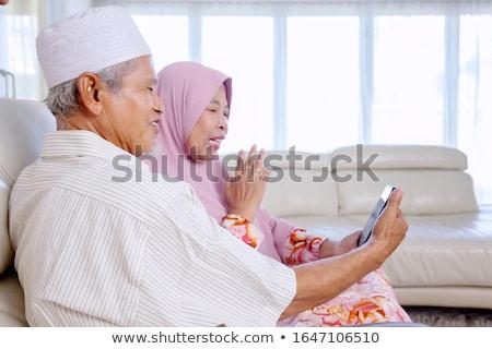 Indonesisch moslim paar praten meisje Stockfoto © tujuh17belas
