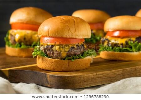 Saboroso cheeseburger grande carne tomates queijo Foto stock © zhekos