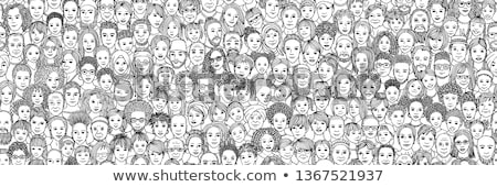 hand drawn seamless pattern with happy families stock photo © netkov1