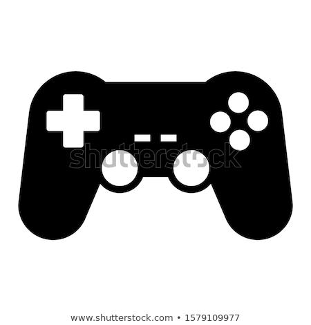 Játékvezérlő ikon technológia felirat jókedv videó Stock fotó © kiddaikiddee