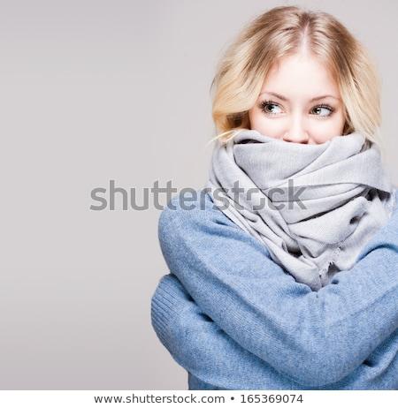 Dalgın kadın eşarp portre yalıtılmış Stok fotoğraf © deandrobot