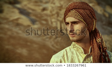 indiano · homem · pôr · do · sol · ilustração · natureza · silhueta - foto stock © adrenalina