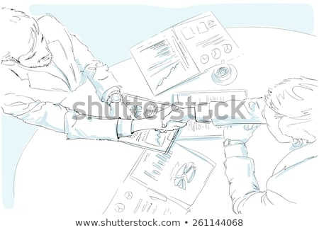 businessman sketching business diagram at office desk stock photo © stevanovicigor