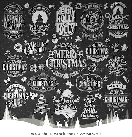 vintage merry christmas and happy new year calligraphic and typographic background with chalk word a stock photo © rommeo79