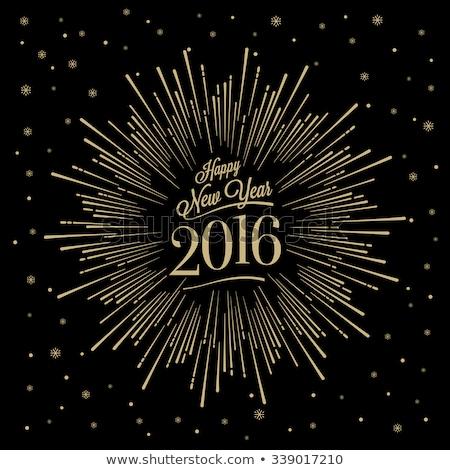Happy New 2016 year golden card, vector illustration stock fotó © carodi