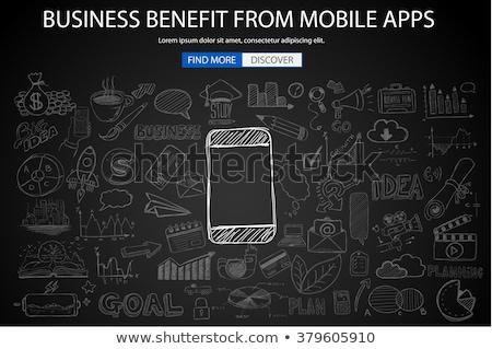 Negocios beneficiar móviles garabato diseno estilo Foto stock © DavidArts