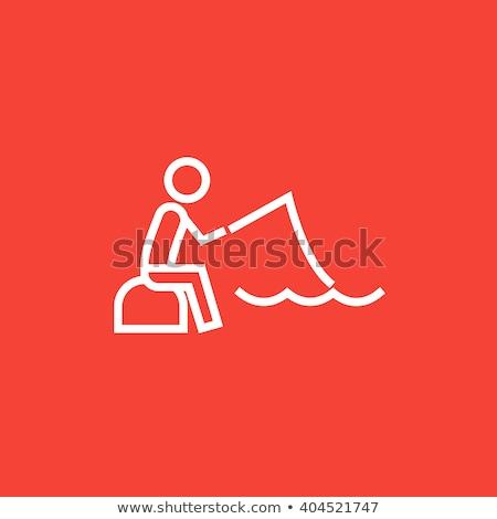 рыбак сидят стержень линия икона веб Сток-фото © RAStudio