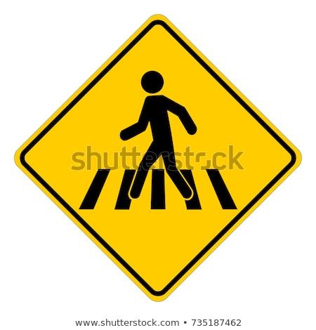 voetganger · teken · blauwe · hemel · lopen · witte · verkeersbord - stockfoto © njnightsky