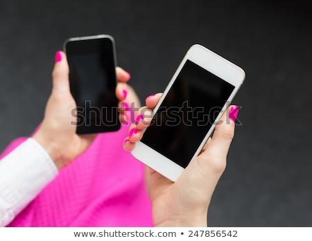 Stockfoto: Rouw · aan · de · telefoon · die · opties · kiest