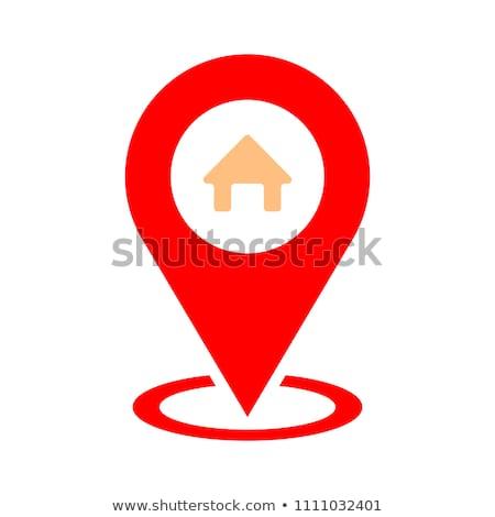 Térkép ház ikon út terv utazás Stock fotó © kiddaikiddee