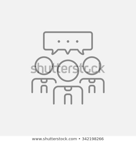 Man with speech square line icon. Stock photo © RAStudio
