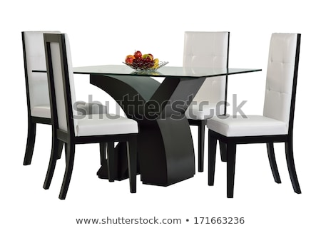 Glas eettafel stoelen drie metaal voedsel Stockfoto © Digifoodstock