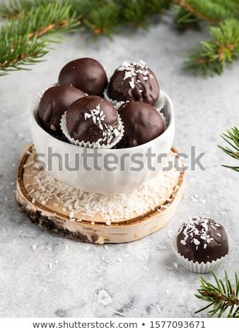 marcipán · golyók · étel · fehér · desszert - stock fotó © digifoodstock