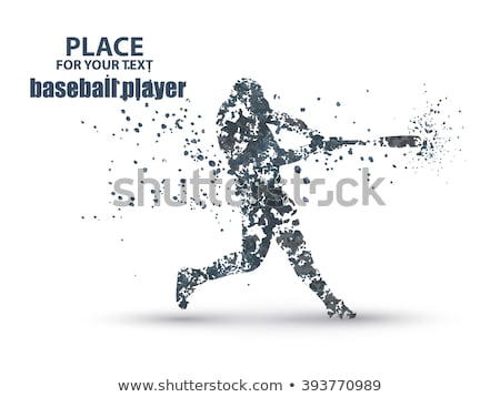 Stock photo: Baseball Batter Hitting Ball, particle divergent composition