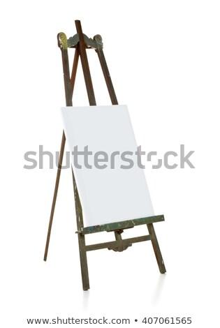 Starych sztaluga płótnie szablon biały Zdjęcia stock © ShawnHempel
