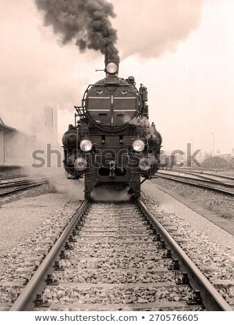 Vasútállomás öreg gőzmozdony hegy zöld vonat Stock fotó © goce