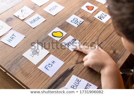 Leren woord kantoor tools school potlood Stockfoto © fuzzbones0