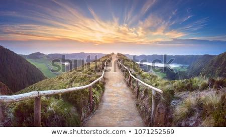 Wandelen parcours bergen heuvel mist hemel Stockfoto © Kayco