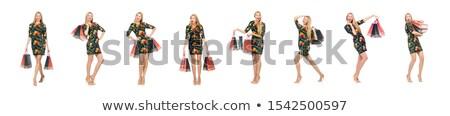 Wysoki model mini zielone sukienka odizolowany Zdjęcia stock © Elnur