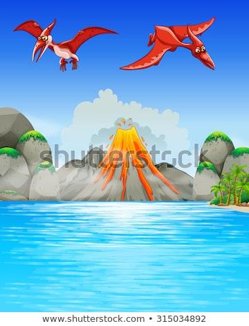恐竜 飛行 火山 実例 自然 風景 ストックフォト © bluering