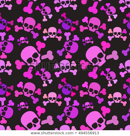 Pink skulls on dark background, emo subculture seamless pattern Stock photo © Evgeny89