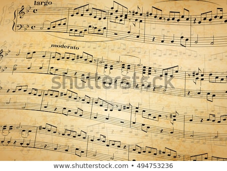 music notes on stave old paper background stock photo © evgeny89