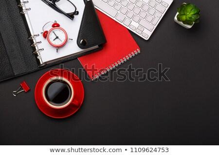Vermelho copo café ilustração branco folha Foto stock © bluering