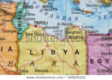 Líbia klasszikus térkép 1920-as évek piros szelektív fókusz Stock fotó © PixelsAway