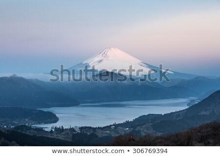 Foto stock: Fuji · montanha · lago · nascer · do · sol · inverno · céu