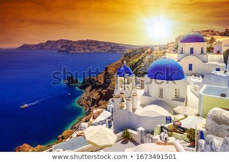 szélmalom · naplemente · Santorini · rózsaszín · narancs · retro - stock fotó © neirfy