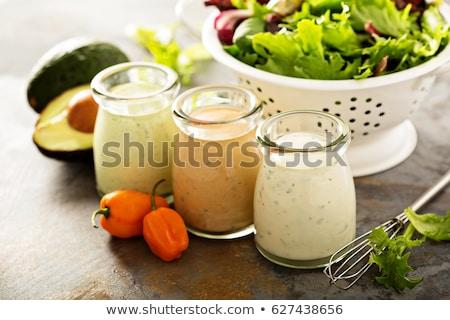 Tazón mayonesa vinagreta cremoso primer plano casero Foto stock © Digifoodstock