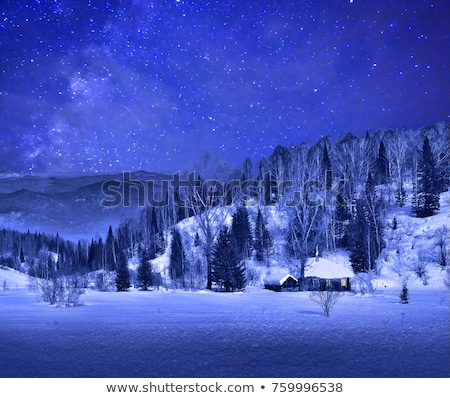 Winter forest Landscape with small wooden house Stock photo © Taiga