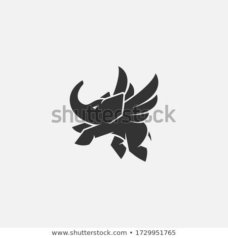 слон крыльями фантастический животного Flying изолированный Сток-фото © popaukropa