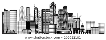 Singapore business district skyscrapers black and white Stock photo © oliverfoerstner