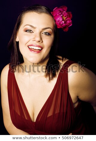 beauty young real woman with flowers and make up closeup lifestyle people stock photo © iordani