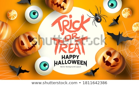 halloween party background with scary pumpkins border Stock photo © SArts