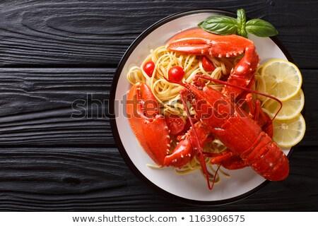 Kreeft saus groenten witte plaat voedsel Stockfoto © pedrosala